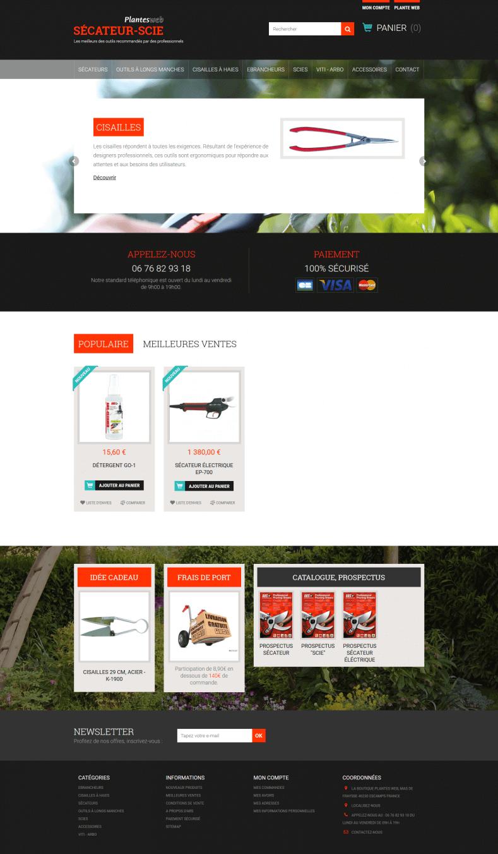 Sécateur scie, site e-commerce, vente outil professionnel