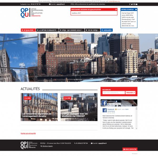 Screen du site web OPQU